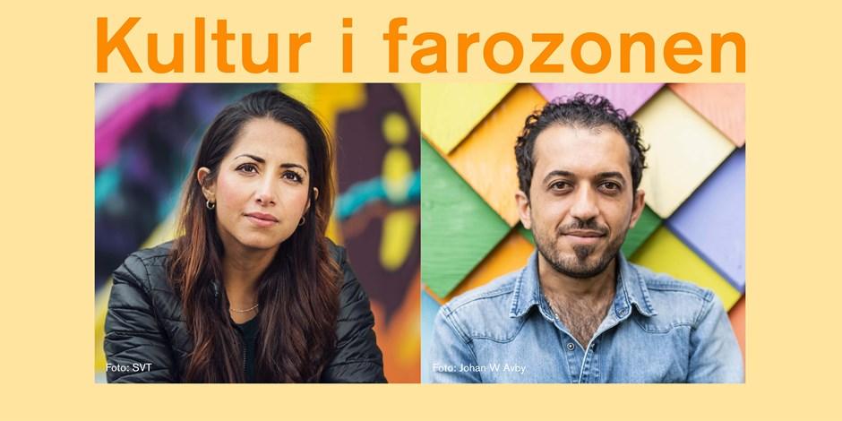 Porträtt av de två föreläsarna, Khazar Fatemi i svart skinnjacka och Ali Thareb i ljus jeansskjorta. Text ovanför bilden: Kultur i farozonen